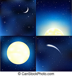 Dark Blue Sky Set, Vector Illustration