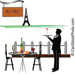 paris cafe - Paris cafe with waiter and Eiffel tower in...