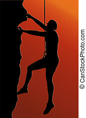 Sunset Back Abseiling Man - Sunset Back Isolated Image of a...