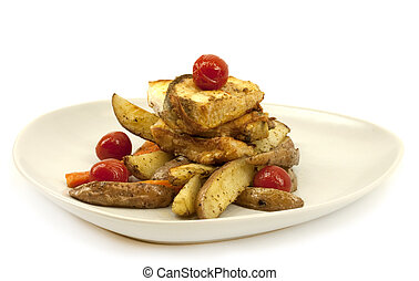 Fried fish and vegetables - Fried haddock, carrots, tomatoes...