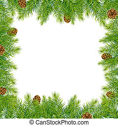 Border With Christmas Tree And Pine Cone, Vector...
