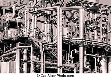 Industrial pipelines and ducts in a modern industry