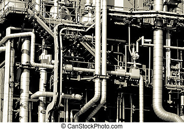 Industrial pipelines and ducts in a modern refinery