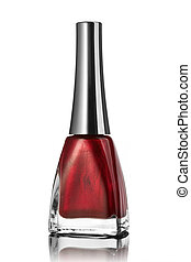 red nail polish bottle isolated on white