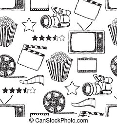 doodle movie seamless pattern - doodle movie seamless...