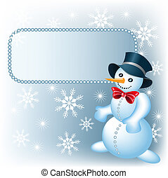 Snowman and signboard - Christmas background with snowman...