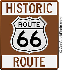 Historic Route 66 Sign - Brown Historic Route 66 Sign as...