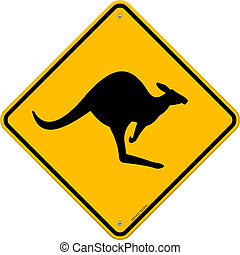 Kangaroo Sign - Yellow Vector Sign with Kangaroo danger...