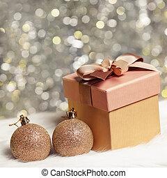 箱, ボール, クリスマス, 贈り物