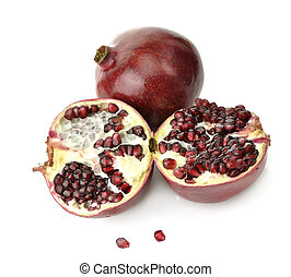 Pomegranate - Ripe Pomegranate With Red Seeds On White...