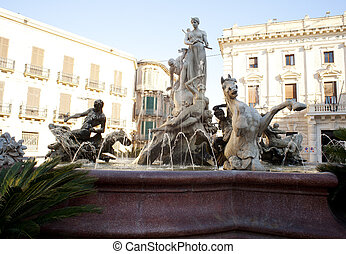Artemide fountain in Syracuse - Sicily,  Italy