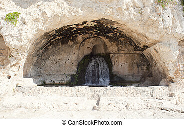 View of Nymphaeum cave, Siracusa - Italy