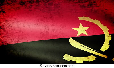 Angola Flag Waving, grunge
