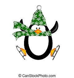 Cute Penguin on Ice Skates Jumping Illustration - Cute...