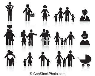 pretas, Feliz, família, ícones, jogo