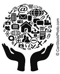mãos, segurando, ícones
