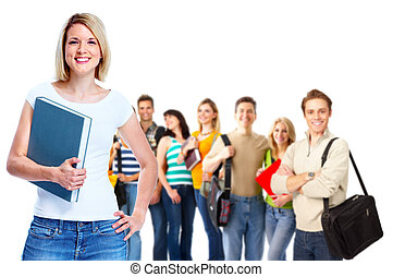 Happy students - Group of happy students Isolated over white...