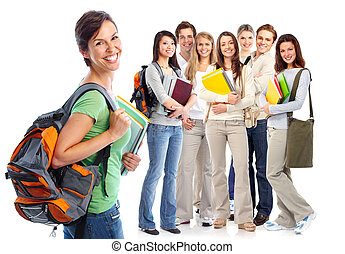 Happy students. - Group of happy students. Isolated over...