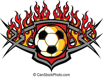 Soccer Ball Template with Flames Ve