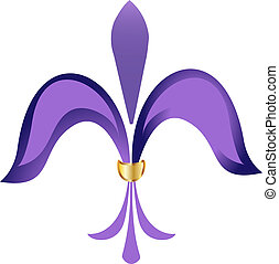 Fleur de lis purple flower with gold
