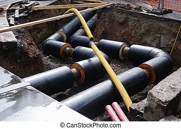 construction of water supply, pipe in the trench