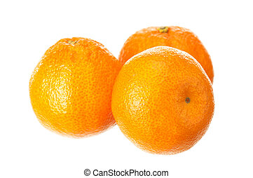 Mandarin fruits - Fresh ripe mandarin fruits on white...