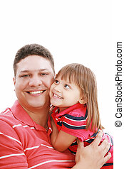Portrait of father and daughter smiling, isolated on white