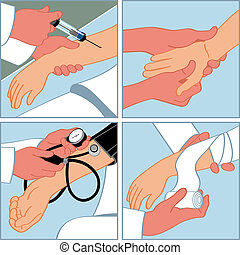 Hand medical procedures - injection, massage, blood pressure...