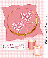 Two Hearts Stitched with Love - Two hearts, cross stitch...