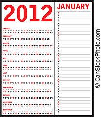 Red calendar for 2012