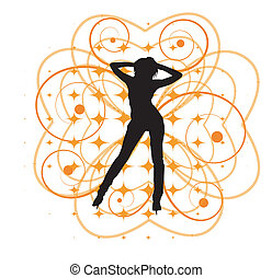 Vector illustration of girl with hearts and curlicues