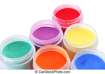 Colorful paints isolated on white background.
