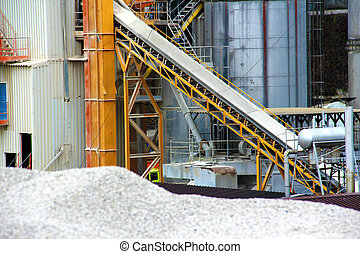 Asphalt base - Machinery in gravel pit and asphalt base