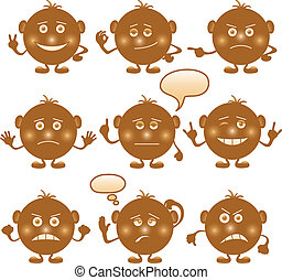 Smilies round, set, brown - Set of round brown smilies...