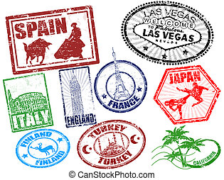 Travel stamps - Set of stylized grunge travel stamps, vector...