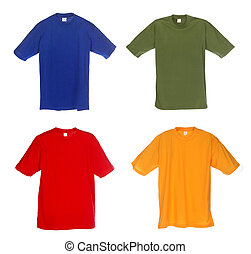 Photograph of four blank t-shirts, blue, green, red and...