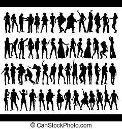 bailando, canto, gente, nuevo, Conjunto