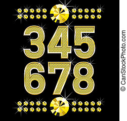 golden metall diamond letters and numbers big and small -...