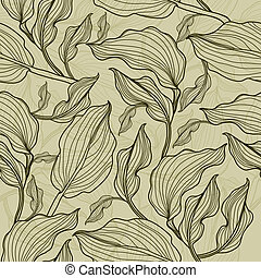 """Vector seamless floral leafs pattern (from my big """"Floral..."""