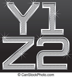 metall diamond letters and numbers - vector set of metall...