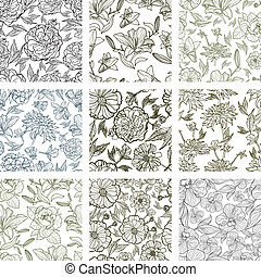 set of seamless floral patterns - set of seamless floral...