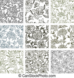 Vector set of nine seamless floral patterns (from my big...