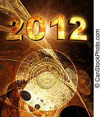 2012. Maya prophecy - Vertical background with Maya calendar...