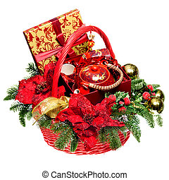 Christmas gift basket on white background - Christmas basket...