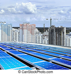 new microdistrict - solarpanel on roof of building that is...