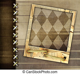 Leather background - Leather grunge background with photo...