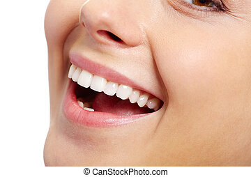 Healthy smile - Close-up of fresh girl with healthy white...