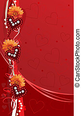 valentine background card with hearts