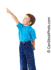 Little boy with empty pointing lifted up hand, isolated on...