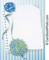 Holiday template with bouquet - illustration of notebook...